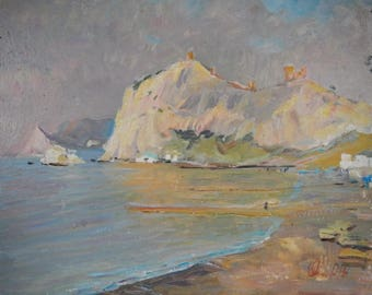 "Original Oil Painting IMPRESSIONIST ART""In Sudak""by Ukrainian artist Cebotaru Nikolai Landscape Seascape Summer,"