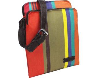 Striped leather messenger bag - colorful chic French shoulder bag