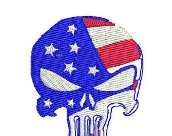 Patriotic Punisher Skull machine embroidery design American Flag