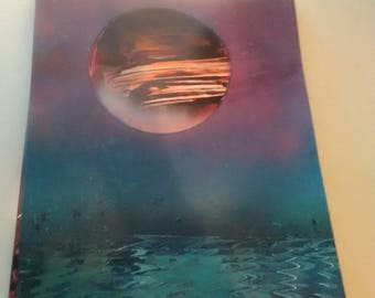 Red planet spray paint art painting