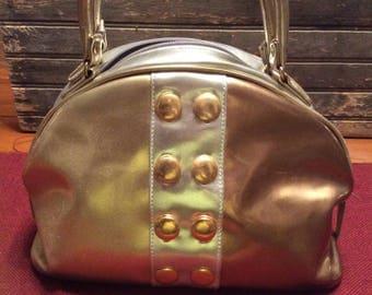VINTAGE Vinyl Purse / Retro Handbag / Gold toned