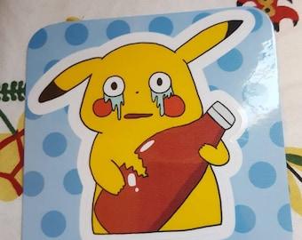 Pokemon Sticker - Pikachu and Ketchup