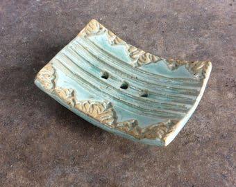 Ceramic SOAP dish green with stamp motif natural SOAP
