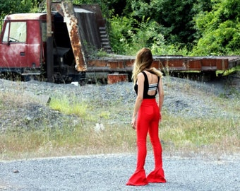 Red New Style Flare Pants - Bell Bottoms - Wide Leg Pants