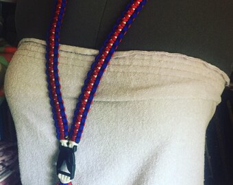 Red white and blue paracord lanyard