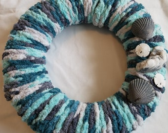 Coastal Crochet Home Decor Wreath w/ Shells