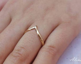 Dainty Gold Ring.  Ladies Golden Ring, Gold Ring. Tiny Stacking Ring.