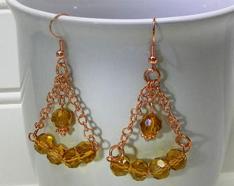 Solid Copper With Gold/Amber Color Beaded Triangle Earrings Handcrafted