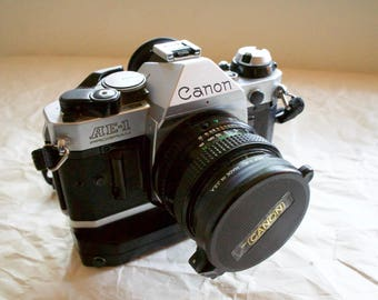 Canon AE-1 Program Vintage 35mm Film Camera with Motor drive