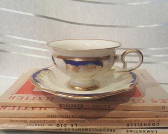 Vintage Rosenthal Kronach-Germany Viktoria Teacup and Saucer Blue and Cream Porcelain Pattern 2295