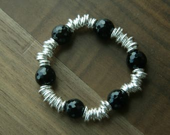 Black Onyx and Silver ring Bracelet