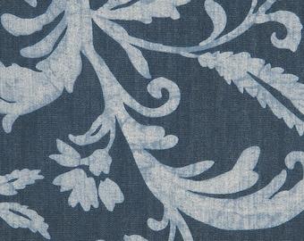 Indigo Batik Floral Print- Eastern Accent Fabric