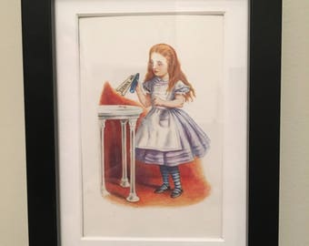 Classic Alice in Wonderland Illustration - framed - Alice Drink Me