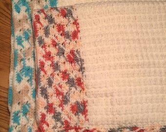 Handmade crochet multi color baby blanket pink blue grey