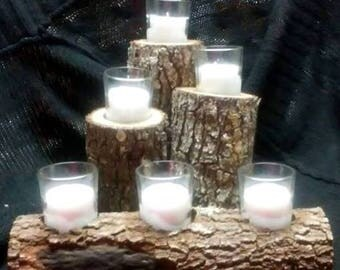 Wood log candle holder set