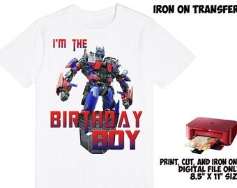 DIGITAL File - Transformers Iron On Transfer Design , Transformers DIY Birthday Shirt , Boy Birthday Shirt DIY , Instant Download