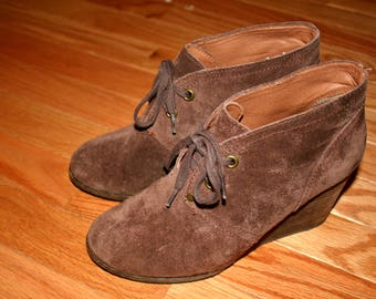 Lucky Brand Suede Wedge Heel Booties