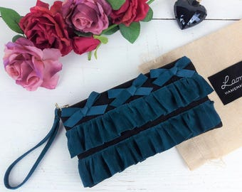 Wristlet purse with ruffles, Leather clutch purse, Evening bag, Envelope bag, Gift for Her, Handmade bags