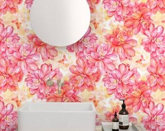 Removable wallpaper/Wallpaper/Peel and Stick/Self adhesive wallpaper/Modern Wallpaper / Flowers  patern S033