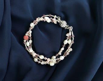 Swarovski crystal bracelet, Fresh water pearl bracelet, Pink bracelet, Lava beaded bracelet, gift for her. wedding day bracelet. gift Mom