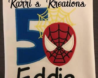 Spiderman Applique Birthday Shirt