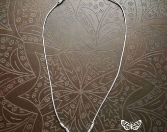 Gemstone neckacle, short sterling silver necklace, 925 sterling silver beads, thread gemstone necklace, gemstone pendant, fluorite pendant,
