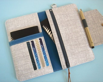 Passport Wallet, Travel Wallet, Family Passport Holder in Silver Cross Hatch To Fit Up to Four Passports - Made To Order