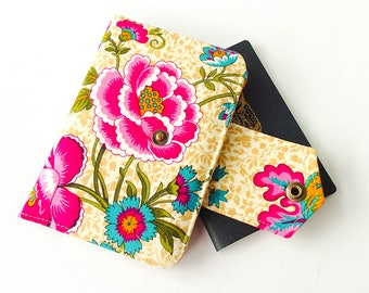 Passport Wallet, Passport Holder, Family Travel Wallet, Travel Organizer in Floral Print, for 2 or 4 Passports - MADE TO ORDER