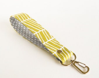 Green Herringbone Key Fob, Key Holder, Fabric Key Chain, Geometric Stripes Wrist Strap, Wrist Lanyard, Short Lanyard Strap, Gift for Driver