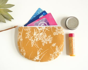 Zipper Coin Pouch in Ochre, Jewelry Case,  Pouch, Womens Mini Wallet, Credit Card Case, Small Zip Wallet, Coin Purse
