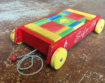 RARE Vintage SIFO Red WAGON of Blocks Wood Wooden Building Learning Color