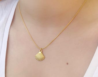 Sea Shell Necklace/Shell Necklace/Vintage Necklace/Vintage Chain/Sea Shells/Sea Life/Beach Necklace/