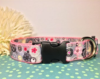 "Dog Collar Gray & Pink Flowers 1"" Wide Dog Collar Super Cute Handmade"