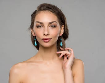 Turquoise & Red Stone Silver Tone Fish Hook Dangle Earrings Set