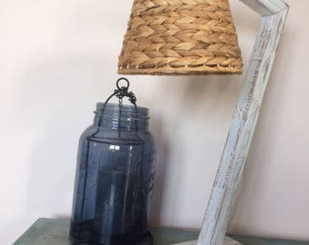 Lamp with shade - day rope hanging