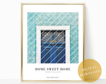 welcome home print, welcome sign, housewarming gift, home decor, home sweet home, hallway decor, art printable, blue decor, gift for her