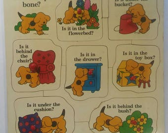 Vintage Eric Hill Spot the Dog Wooden peg board jigsaw puzzle
