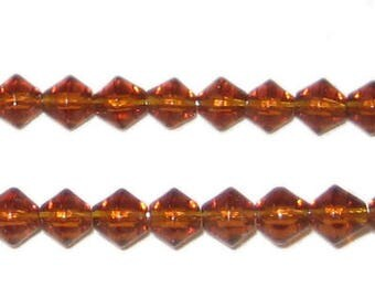 6mm Bi-cone Brown Fire Polish Glass Bead