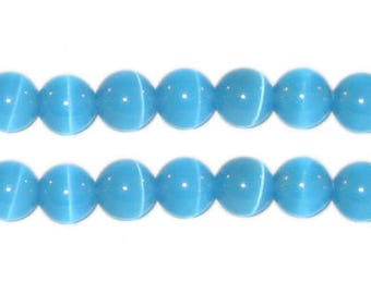 8mm Turquoise Round Cat's Eye Beads, approx. 15 beads