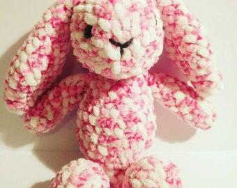 Crochet pink floppy eared bunny