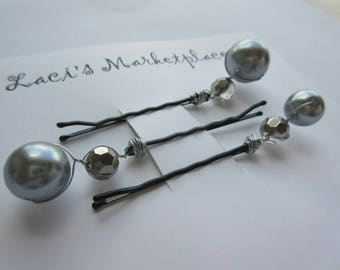 Beautiful gray pearl beaded bobby pins, set of three, bridal, bridesmaids, gift set, hair accessories, CLEARANCE 50%OFF.