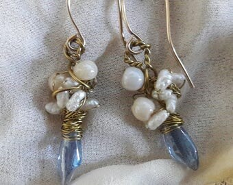 Goldfilled earrings with glass and fresh water pearls nr 27