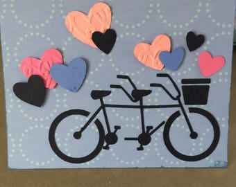 Bicycle for two, Anniversary Card, Wedding card, I Love You Card, Valentines Day Card, Bicycle of Love Card,Bicycle Love, hearts, romance