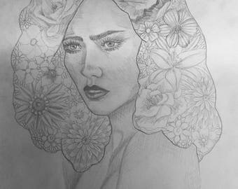 Girl Flower Hair drawing (print)