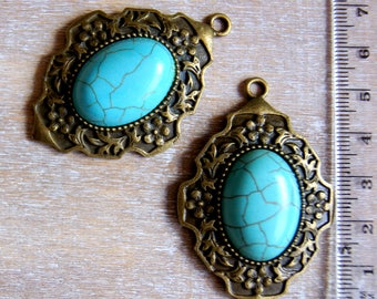 Flower and imitation turquoise cabochon pendant