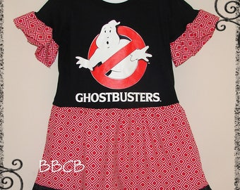 Girls - Ghostbusters Tunic Dress - Ready to Ship fits 4/5 4T 5T - Birthday Party - Halloween Back to School Fall Autumn Scary
