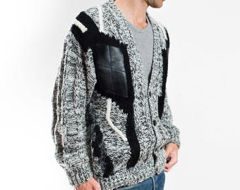 Vintage Black and Grey Sweater / Mens Geometric Acrylic Giono Vest / Made in Korea / Leather Patchwork Button Up