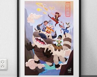 """Avatar the last airbender art print FANART (12 X 18 """"/ 6 X 9"""")"""