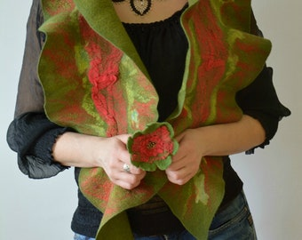 Fashion scarf women Felted flower brooch Felted accessory women Green felted scarf Spring scarf women Felted wool wrap  Ruffle women collar