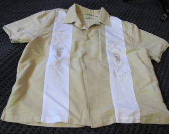 cubavera golf shirt (xl), vintage, retro, golf, heritage fit, hipster, luau, casual, short sleeves, costume, beige, mens, stripe,